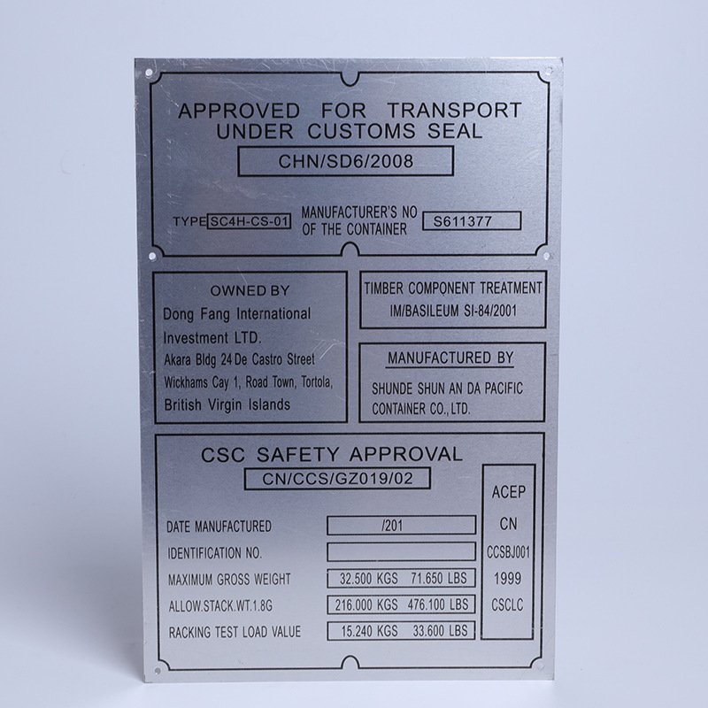 metal equipment tags