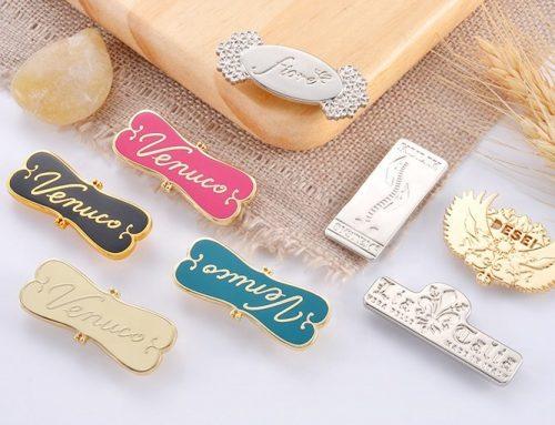 Custom metal name plates for handbags
