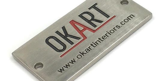 stainless logo plate
